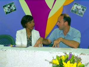 The encouragement has come from one of the events supporting corporate sponsors SOL CARIBBEAN LTD., as they also commended title sponsor Chefette Restaurants for taking the lead on the annual fundraiser. Managing Director Ryan Haloute seen here making a point to SOL's Gina Cummins, who listens raptly.
