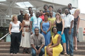 Cast members Richard Pepple and Keisha Pope (stooping), Playwright Katori Hall (standing centre), London Director - Melissa Simmonds (far left), Manager of the Hall - Fran Wickham (3rd left), Barbados Director - Peter Lewis (3rd right) along with crew and workshop participants.