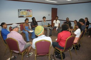 Playwright Katori Hall (3rd left) and workshop participants.