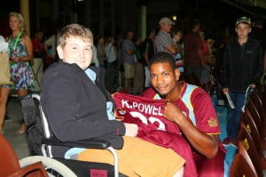 Powell took time out to meet and greet cricket fan Callum, (pictured), an 11-year-old patient from Sydney Children's Hospital in Randwick.