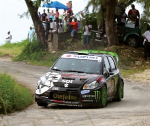 2013 King of the Hill Champion, Neil Armstrong, in his Digicel sponsored Suzuki SX4