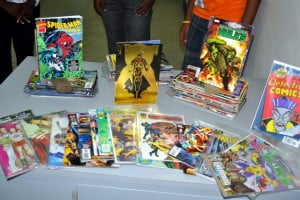 "A selection of over 100 comic books and graphic novels donated to Barbados' National Library service by Reddit member ""AskmeAskme"" and the Outsiders Underground Comicbook group Wade Alleyne and Rashid Holder."