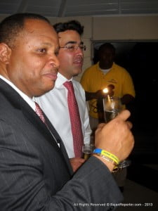 The Finance Minister shares a bubbly with Exec. Dir. Atef Nicholas after all of the hard work in slicing that ribbon...