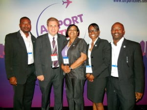 The SXM delegation with the Chairman of the Conference, Prof. John Kasarda (2nd from left). (Photo courtesy SXM)