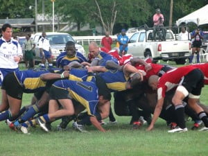 "Playing into the wind and once again dominating line-outs and scrums, Barbados took the game to Trinidad and were unfortunate to have a score ruled out when No 8 Shaun English appeared to touch down over the Trinidad line, but ruled ""held up"" by the referee."