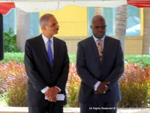 (FILE IMAGE - AG Brathwaite seen here with US counterpart Eric Holder) CTUSAB urges that in like manner, government should commit to the establishment of a Protective Services Commission. The Congress has sought an audience with the Attorney General and Minister of Home Affairs on this subject, as it views that the establishment of the Commission would lead to the streamlining of the matters of appointments, promotions, disciplinary matters, recruitment, and Human Resource Development in the Fire, Police and Prison Services.