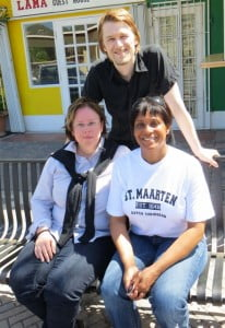 Milestone team to the Friendly Island, Margaret Matz (L), Martha Luciano, and Joe Flinder (standing). (HNP photo)