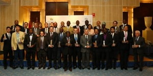 SXM Managing Director, Regina LaBega (10th R), among the awardees of the International Transport Award, as well as the International Construction award, which was also presented at the event. (Photo courtesy SXM)