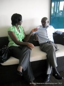 The hospitality guru pauses from his hactic agenda to answer queries from the svelte Roberta Dowell of Starcom Network.