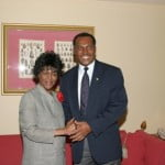 Nevisian Premier Vance Amory meets actress Cicely Tyson on her second visit to Nevis in January, 2004