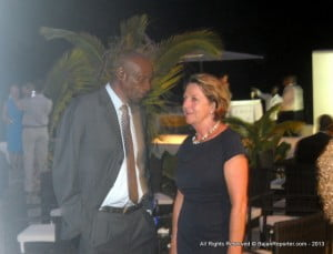 Former Tourism Minister & Cricketer the Rev. Wes Hall compares notes with the Barbados Hotel & Tourism Assoc's. Sue Springer