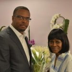 """Deputy Premier and Minister of Culture, Mark Brantley, congratulates actress Cicely Tyson on her award-winning performance in the Broadway Play """"Trip to Bountiful."""""""