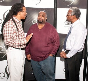 Bryon Serrette and Richart Forteau of Pan Trinbago in discussion with Grammy award-winning music producer Asaph Ward at last year's edition