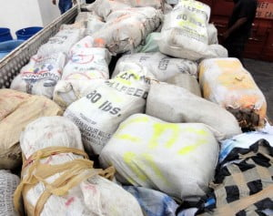 {RBPF FILE IMAGE} They seized 9 taped packages and eight polythene bags containing cannabis, total weight 1002 lbs. A boat was also seized, after it ran aground in the sand.