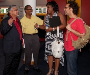 From Left.T&T Minister of Planning and Sustainable Development, Dr. Bhoe Tewarie , Stephen Howard ASK Promotions, Benita Bellamy of the Bellamy Group and Vikas Kholi of Fat Labs at AMMBCON 2012 at Queens Hall P.O.S