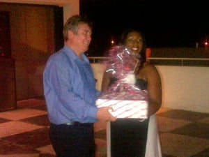 Barry receives a send-off present from Andrea Worrel