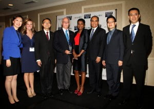 ICN founder Felicia Persaud, 4th from right, with Mike Ronan, vice president of government relations for the Caribbean, Latin America & Asia at RCCL, 4th from l.; Miguel Reyna, director, Port Business Development and Asset Management, 3rd from r; Kara Coleman, news anchor of One Caribbean Television and ICN 2013 emcee, 2nd from left and the China and the Caribbean panellists including Li Li at L; Consul in charge of economic & commercial affairs of the Consulate General of China in New York, Xiaoguang Liu; 3rd from r. and Johnny Liu of the American Chinese Commerce Development Association at right. (Hayden Roger Celestin image)