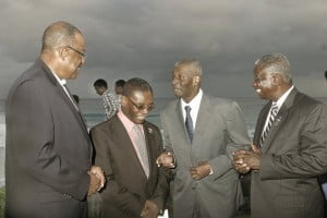 {IMAGE VIA - DLP's Facebook Page: L to R? Health Min. John Boyce, St Lucy MP Dennis Kellman, Sir Richie & PM Freundel Stuart} Sir Richard was MP for St Michael South Central as both DLP and NDP in the 70s & 80s, a section of the South Coast Boardwalk along the shoreline of Hastings Ch. Ch. is named after him. In the 90s, he treated Princess Margaret at Bayview hospital on Beckles Rd.