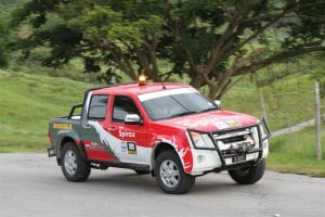 Leslie Alleyne and Chris O'Neal will be competing in their immaculately prepared Shell Rimula/Shell Spirax/Simpson Motors Isuzu D-Max, seen here in action during Sol Rally Barbados 2013.
