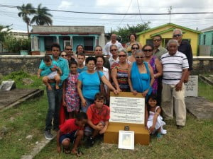 Some of her descendants gathered at her grave site in Westbury Cemetery in Barbados on 16th June 2013
