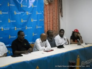 Chairman of the Barbados BARL Stefan Hinds (4th from Right) as part of a Media Briefing at the Wildey Gymnasium to his Left is Brian Hennis Vice President, Overseas Operations of Beacon Insurance. Next to the Chairman is Roger Welch Payne race Director, Chubb one of the baddest Drag racers at BADD and Brook Miller of the Big Bikes fame.