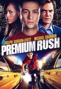 (CLICK FOR BIGGER) Premium Rush (Columbia Pictures) - Wilee (Joseph Gordon-Levitt) is a New York City bike messenger alongside his ex-girlfriend, Vanessa (Dania Ramirez). During a routine delivery, he picks up an envelope that attracts the interest of a dirty cop, and it turns into a life or death chase through the streets of Manhattan. Directed by David Koepp.