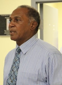 Premier of Nevis and Minister responsible for Disaster Management in the Nevis Island Administration; Vance Amory at the Nevis Disaster Management Department's Office ahead of a tour of the new Emergency Operations Centre at Long Point on July 11, 2013