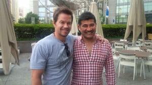 Mark Wahlberg and Ajmal Khan. {Photo courtesy Limaacol CPL.}