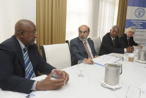 FAO Director General, Dr. Jose Graziano da Silva (CENTRE), at a meeting of agriculture stakeholders in Jamaica on the final day of his mission to the region