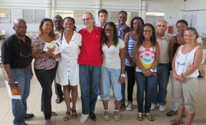 Lake, Jr. (L) and Dr. Arrindell (4th L) with Lycée educators and students (CLF photo)
