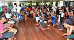 Over 25 drummers and 60 dancers took part in Akugbe - Barbadians being put through their paces by the visiting African Masters.