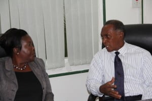 (L-R) Principal Education Officer in the Department of Education on Nevis Mrs. Lornette Queeley-Connor and Premier of Nevis and Minister of Education Hon. Vance Amory