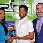 Sharda Veeren Chand of DDL R Sarwan and Commercial Director CPL Jamie Stewart