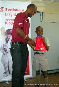 Winners of the Scotiabank Kiddy Cricket Festival, St. Paul's Primary enjoyed a Champions' Celebration at the school. Kiddy Cricket alumnus Kraigg Brathwaite presented special gifts for the winning team.