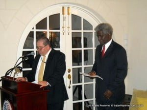 Mike Carver introduces the envoy from USA for Barbados & the Eastern Caribbean for the ceremony which was held at Las Cibeles.