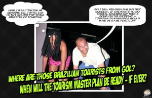 {CLICK FOR BIGGER} Now Sealy ensured his 2nd Term, he feels more relaxed in telling Bajans the truth about both Visitor arrivals and if Rihanna is coming back with more foreign acts... (APOCRYPHAL)