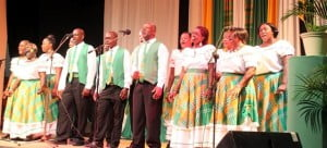 """(Emerald Community Singers) The song displayed elements of Montserrat's culture making reference to masques and drums. """"In toil and tears to serve you well"""" are memorable lyrics highlighting aspects of Montserrat's history."""