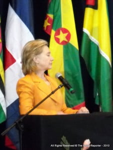 {FILE IMAGE - 2010, Barbados} Former Secretary of State Hillary Rodham Clinton