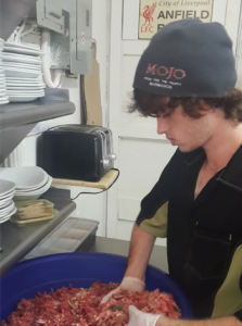 Jesse busy mixing some fresh lamb burger!