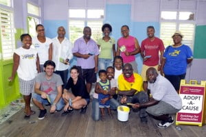 Back row left to right - Antaline King, Tara Smith, Trevor Estwick, Ian Clarke, Christine Richards, Ricky Charles,  Mark Jones, Wendy Blackman (Principal) Front row left to right Nathan Billet, Amanda Billet, Cozette Grant and son Khalil, Rosalind Clarke, Leo 'Beaumont' Trotman volunteer, Seymour ,volunteer painter) Missing:  Ken Edey, Sharina Marshall, Mishael Voisin