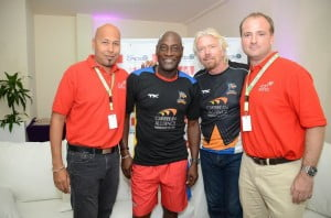 (L-R) Andre Bello, Sales and Marketing Manager of Virgin Atlantic Caribbean, Sir Viv Richards, Manager of the Antigua Hawksbills, Sir Richard Branson and Nick Parker, Regional Manager of Virgin Atlantic Caribbean