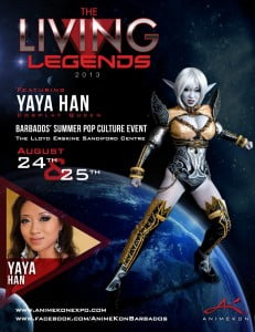 Living Legend Yaya Han will be attending both days of the AnimeKon Pop Culture Convention taking place on August 24th & 25th in Barbados.