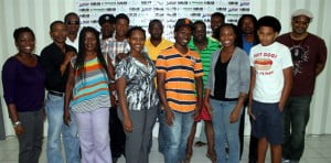 Group shot of the participants of the Digital Filmmaking workshop which was held during Beyond the Screen on Friday, August 16, 2013
