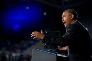 President Barack Obama delivers remarks at the University at Buffalo, the State University of New York, during the college affordability bus tour in Buffalo, N.Y., Aug. 22, 2013. (Official White House Photo by Pete Souza)