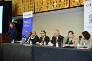 From left: at podium, Marjorie Straw (Manager – Special Projects, JAMPRO), Anthony Bradshaw (COO, Caribbean Export), Ramesh Ramdeen (CEO, TTMA), Senator The Hon. Vasant Bharath (Minister of Trade, Industry and Investment), Ullrich Kinne (Deputy head of Mission, German Embassy), Vasantha Chase (President, CICMC) and Daniela Tramacere (Chargee d'Affaires, Delegation of the EU, Trinidad & Tobago).