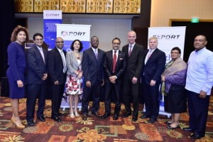From left: Marjorie Straw (Manager – Special Projects, JAMPRO), Nirad Tewarie, (CEO, TTCSI), Ramesh Ramdeen (CEO, TTMA), Daniela Tramacere (Chargee d'Affaires, Delegation of the EU, Trinidad & Tobago), Anthony Bradshaw (COO, Caribbean Export), Senator The Hon. Vasant Bharath (Minister of Trade, Industry and Investment), Ullrich Kinne (Deputy Head of Mission, German Embassy), Rainer Engels, Executive Project Director (GIZ), Vasantha Chase (President, CICMC) and Donald Demeritte (Principal, EPS Consultancy).