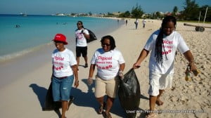 Digicel staff as they went about the task of cleaning up Browne's Beach in St. Michael