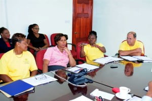 Participants in the ANSA McAL (Barbados) Ltd. Management Programme included: (from left to right in foreground) Cheryl Haynes, Corine Jordan, Muriel Walthrust and John Maynard; as well as organisers of the programme: Group Human Resources Administrator, Tricia Brathwaite; and Group Organisational Development Manager, Monique Hassell.