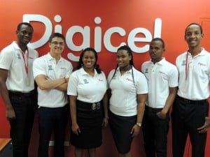 (L-R) Digicel interns, Brendon Belle, Tebh O'Huiginn, Najla King, Gina-Ann Trotman, Robin Lewis and Tyler Belle
