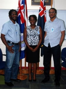 L to R: Director of DMCA Billy Darroux, Montserrat National ICT Members Nerissa Golden and Dr Samuel Joseph